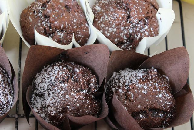 Chocolate, Banana, Date & Walnut Muffins