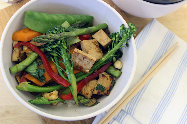 Tofu, ginger & Sweet chilli Stirfry